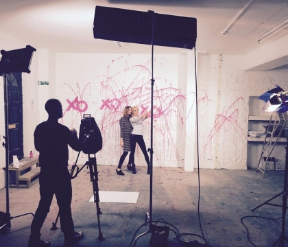 Swansea studio filming, South Wales